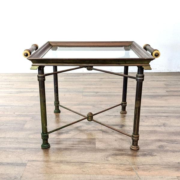 Vintage Chapman Signed Brass and Glass Coffee Table with Removable Glass Tray with Handles
