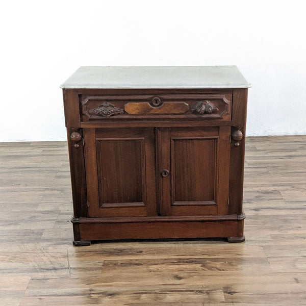 Antique Victorian Marble Top Commode Cabinet