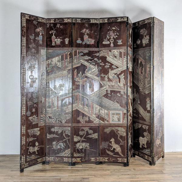 Vintage Seven Panel Chinese Coromandel Lacquered Screen