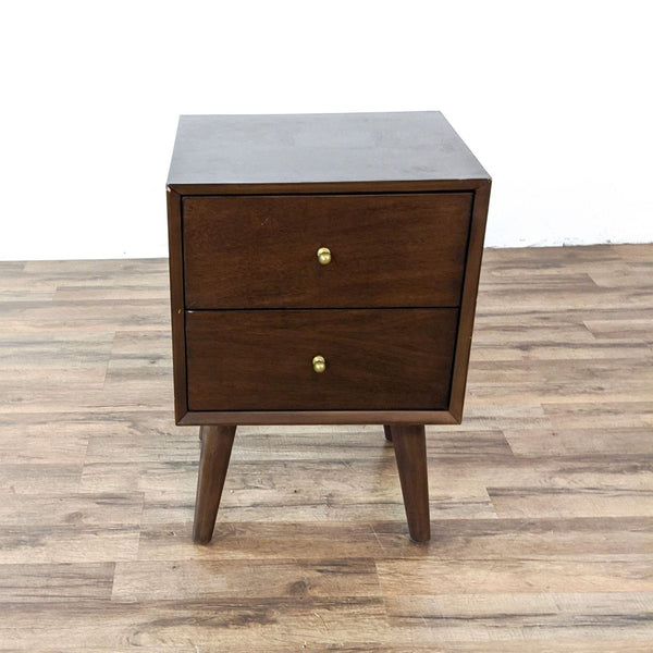 Alpine Flynn Walnut Two Drawer Nightstand