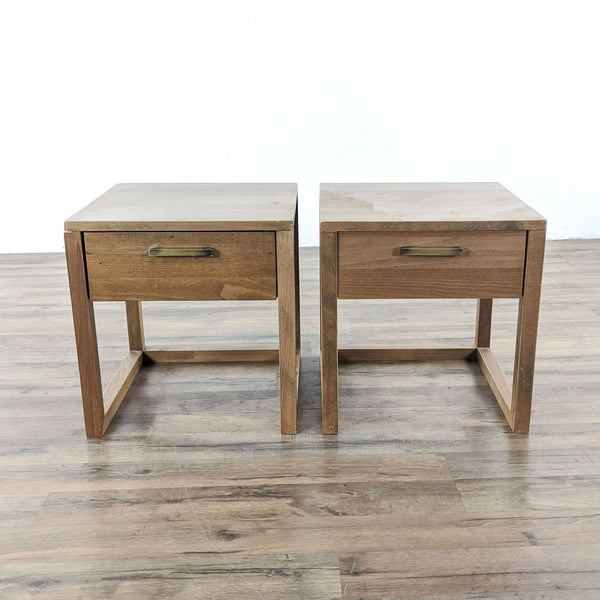 Pair of One Drawer Wooden End Tables