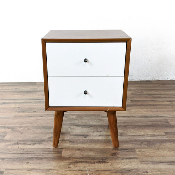 Alpine Flynn Two Drawer Two Tone Wood Nightstand in Acorn/White