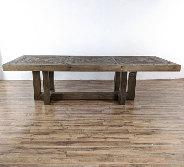 Rustic Wooden Dining Table with Parquet Top