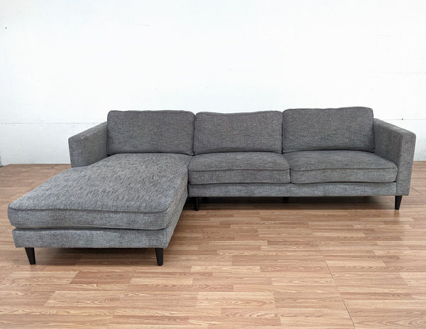 Living Spaces Gray Upholstered Sectional Sofa