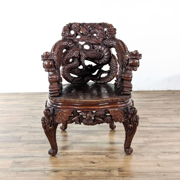 Vintage Chinese Carved Dragon Armchair