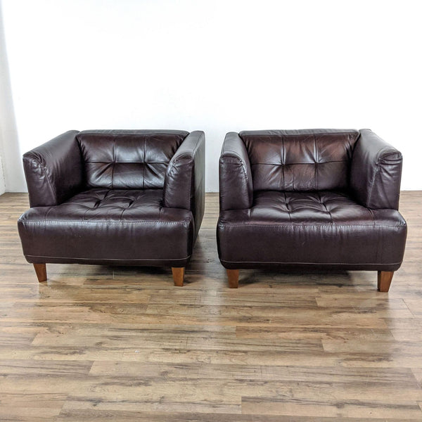 Pair of Chateau D'Ax Espresso Brown Leather Chairs