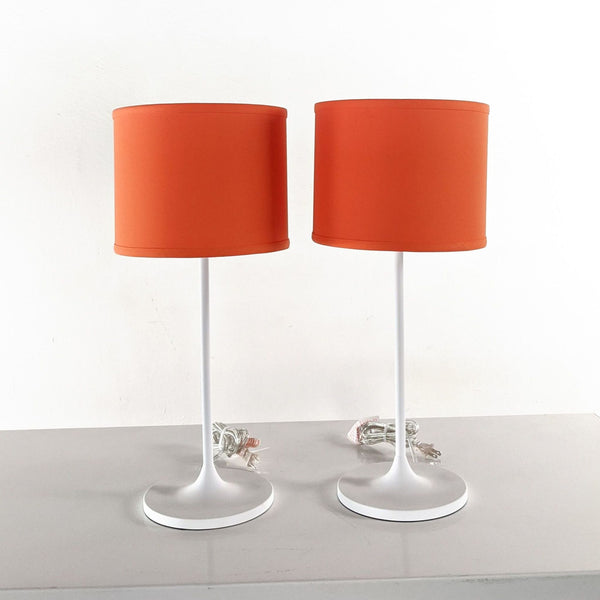 Metal Table Lamps with Orange Linen Drum Shade