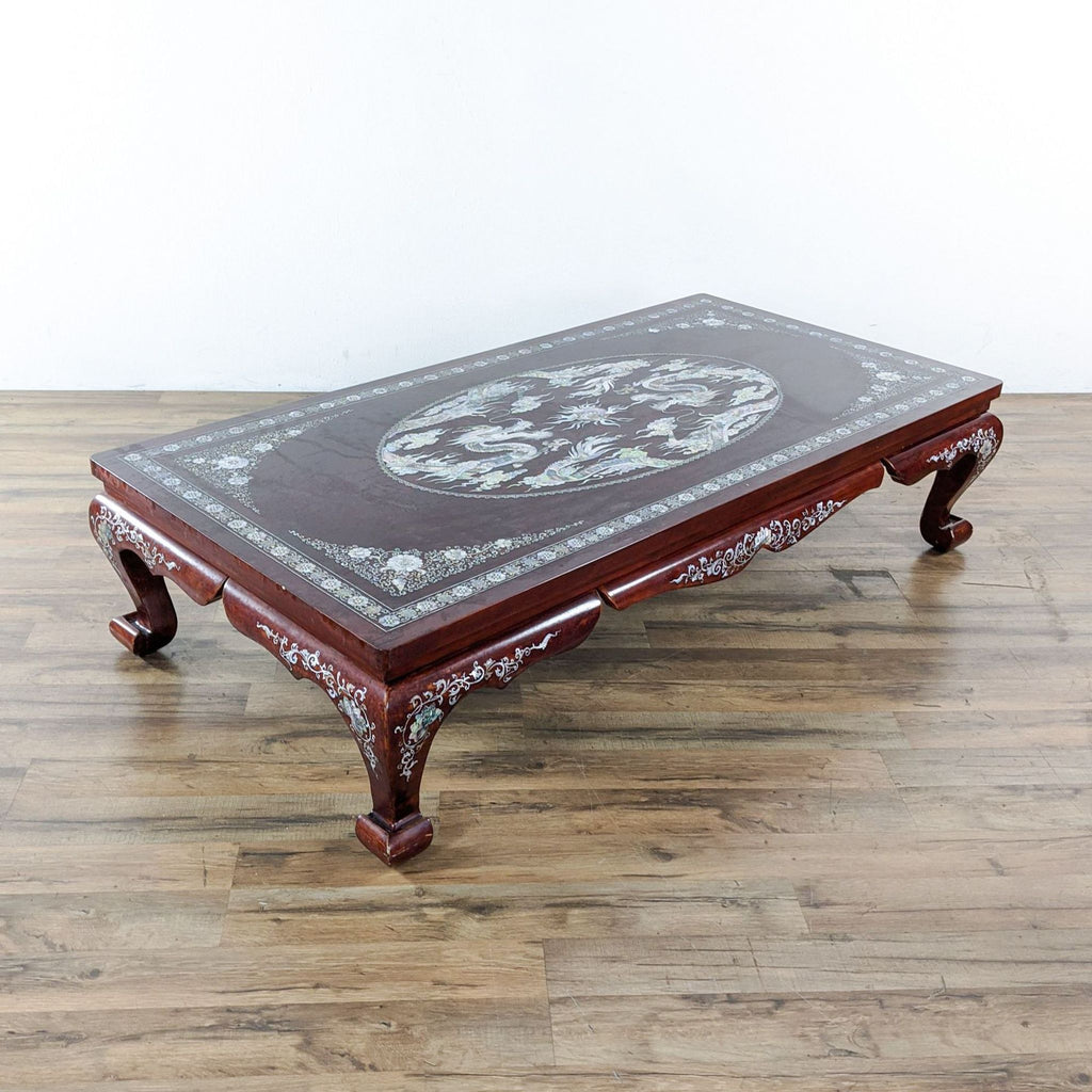 Vintage Chinese Rosewood Inlaid Coffee Table