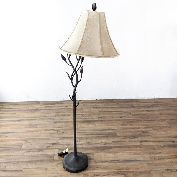Contemporary Iron Floor Lamp with Leaf and Vine Design