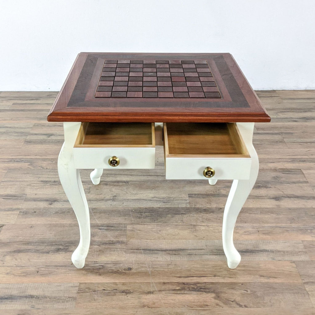 Two Drawer Inlaid Chess Table