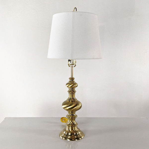 Gold Metal Table Lamp with White Shade