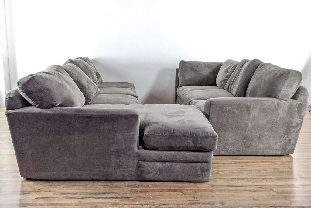 Living Spaces Custom Micro Suede Sectional Sofa