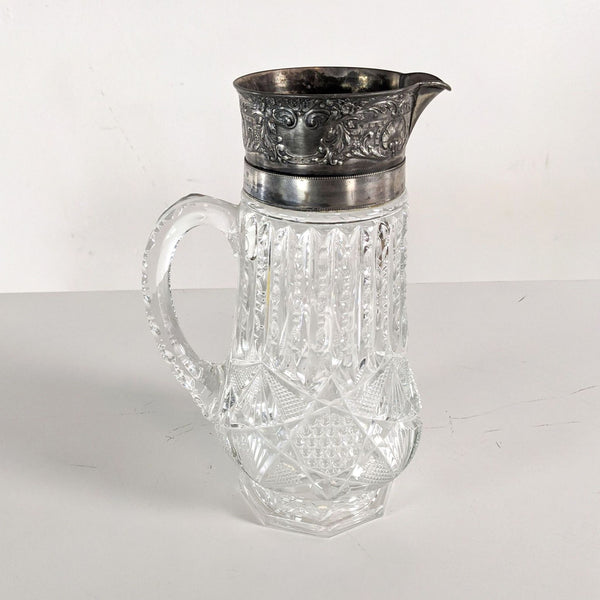 Antique Cut Crystal and Sterling Silver Water Pitcher