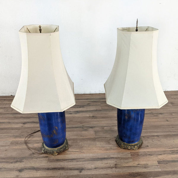 Blue Table Lamps with White Shade