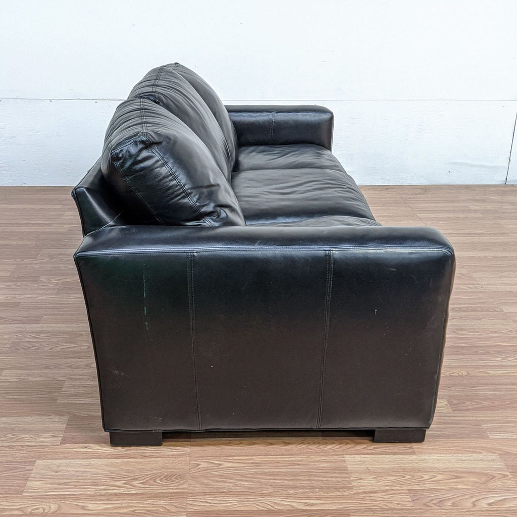 Room & Board Black Leather Sofa