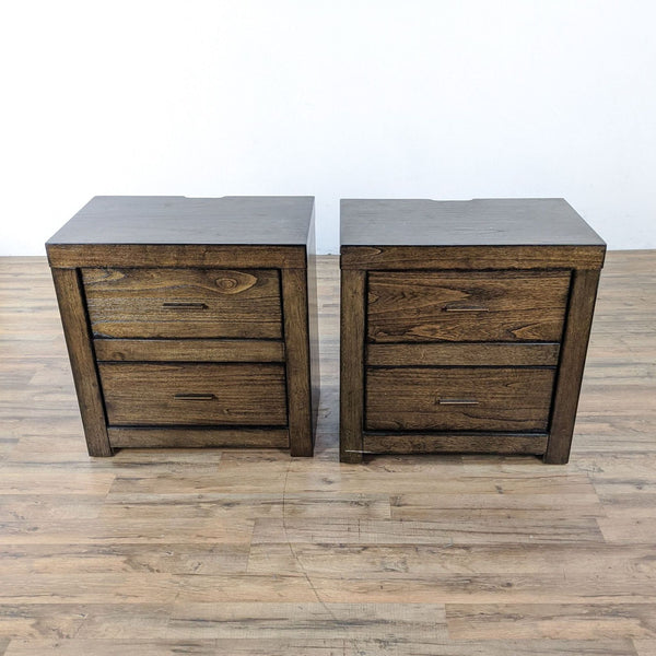 Pair of Aspenhome Modern Loft Two-Drawer Nightstands
