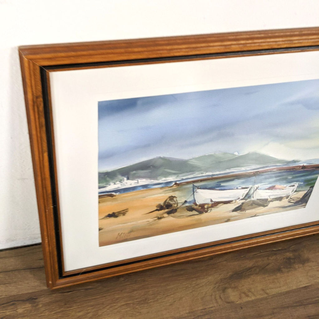 Framed Watercolor Painting by Miret