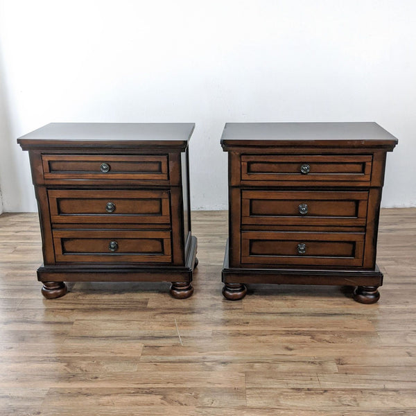 Pair of Roller One Co. Two Drawer Wooden Nightstands