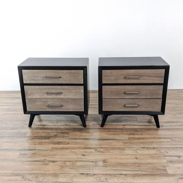 Pair of Mid-Century Three Drawer Wooden Nightstands