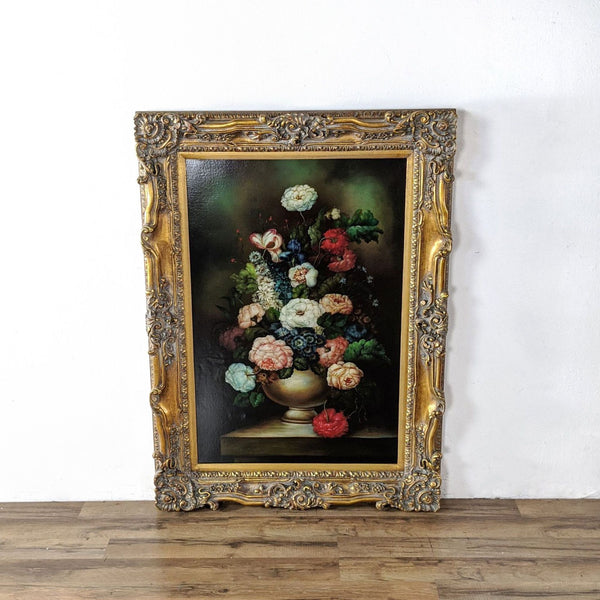 Framed Still Life Painting of Flowers by A. Rinda