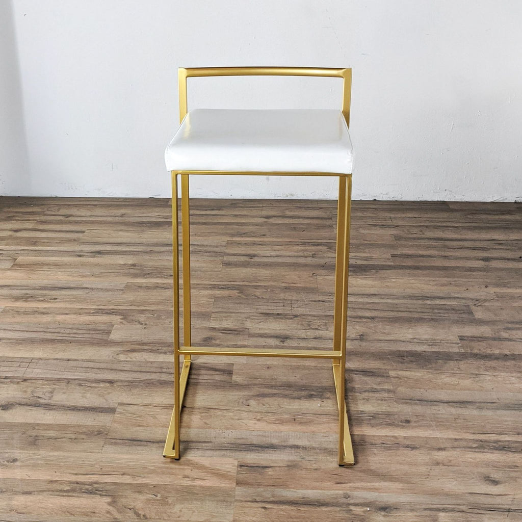 Gold Metal Stools with White Padded Seats
