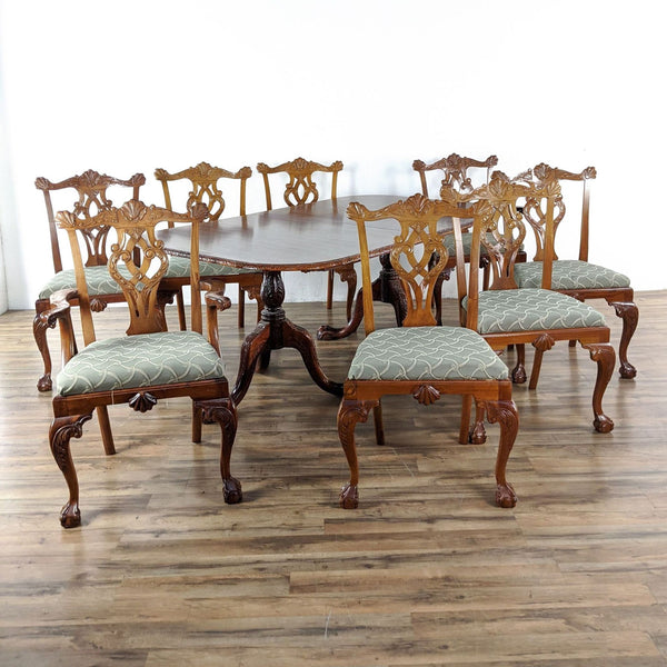 Nine-Piece Chippendale Wooden Dining Set