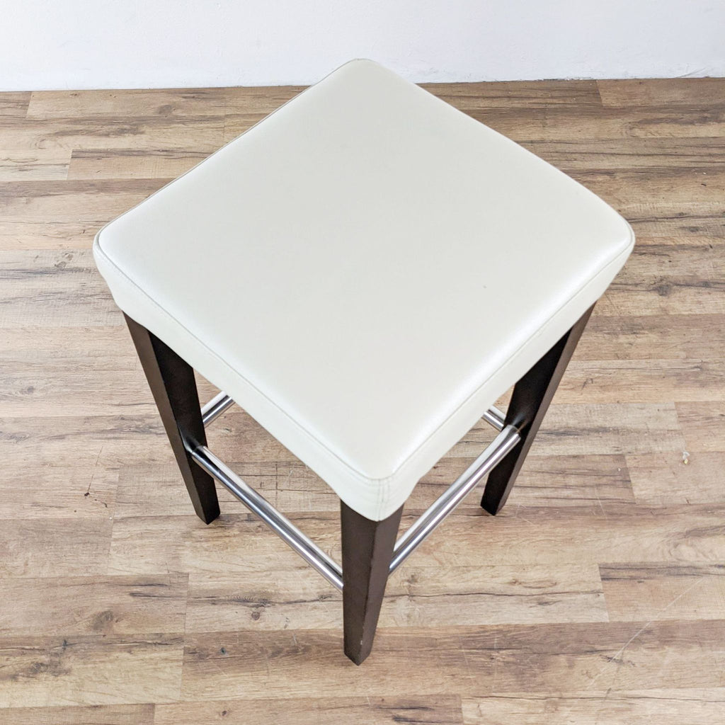 White Leather Counter Stool