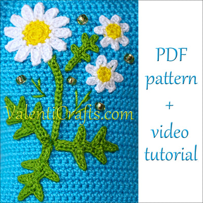 Crochet Applique Pattern - Diasies