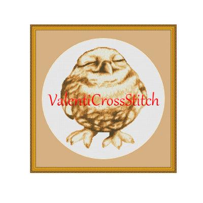 Funny owl ( shade of brown ) cross stitch pattern