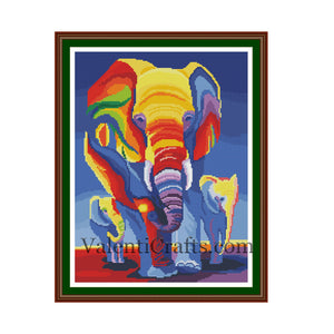 Modern Elephants Cross Stitch Pattern