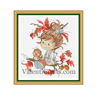 Little Fairy Autumn Cross Stitch Pattern