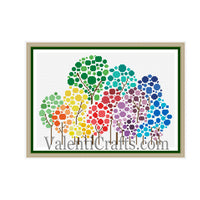 Colored Trees Cross Stitch Pattern