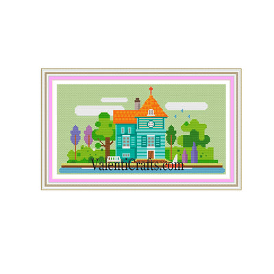 Little colorful city # 1. Cross Stitch Pattern