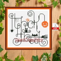 Trick or treat , Halloween cross stitch pattern