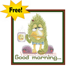 Good morning, free funny cross stitch pattern