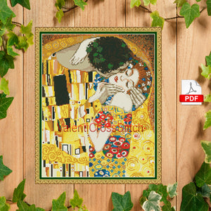 The kiss - Gustav Klimt Cross Stitch Pattern