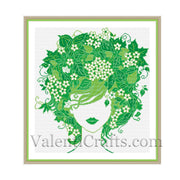 Lady Spring Cross Stitch Pattern