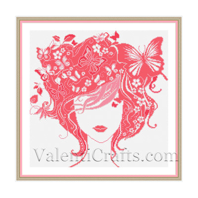 Lady Summer Cross Stitch Pattern