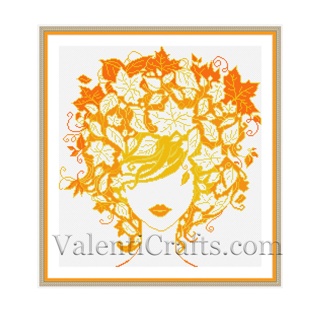 Lady Autumn Cross Stitch Pattern