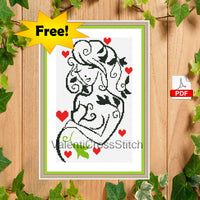 Pregnant woman free cross stitch pattern