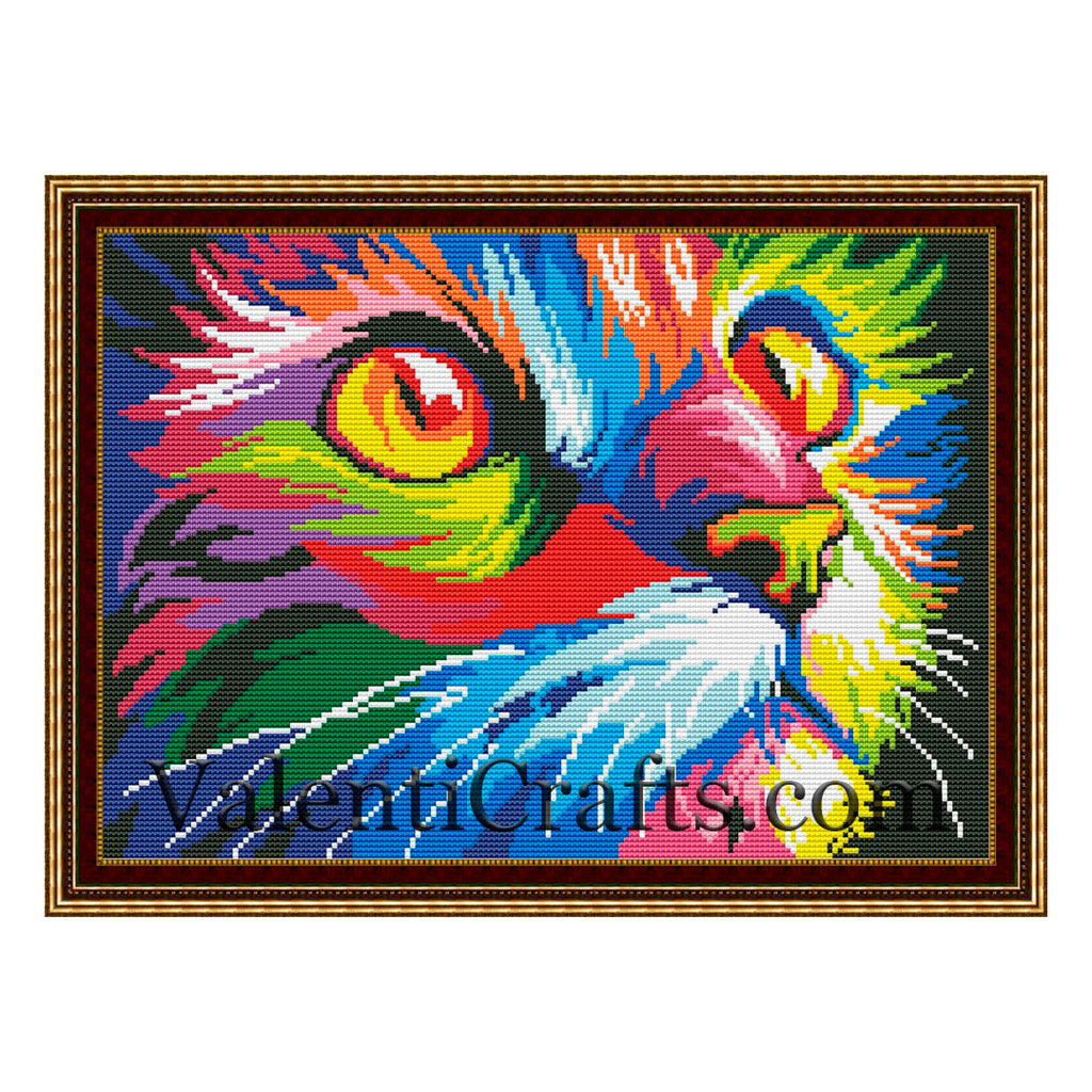 Rainbow Cat Cross Stitch Pattern