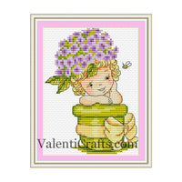 Baby  hydrangea cross stitch pattern