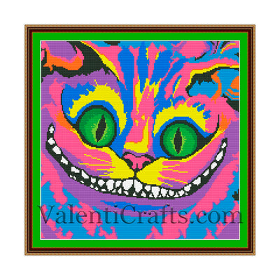 Rainbow Cheshire Cat Cross Stitch Pattern Alice in Wonderland