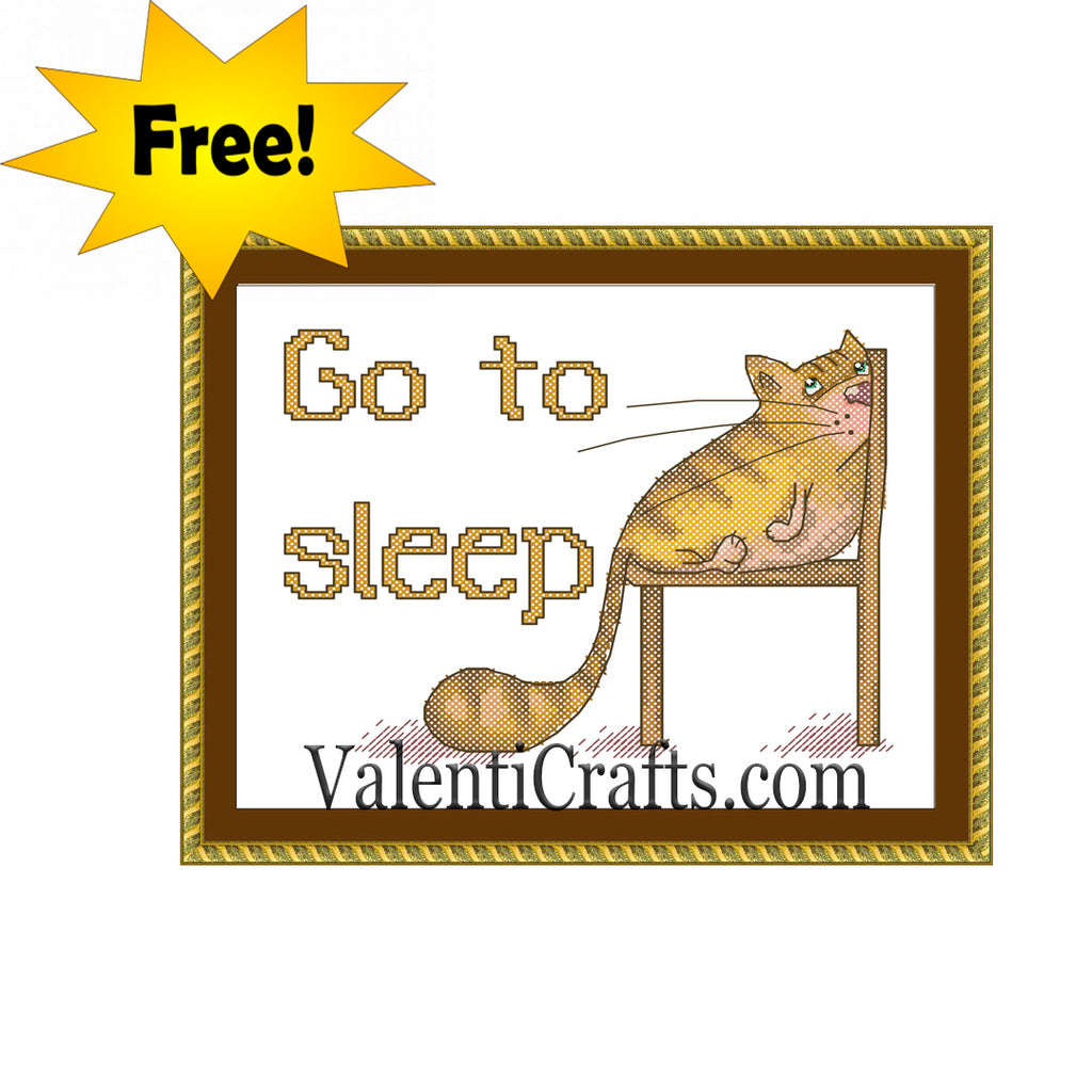 Funny Cat Free Cross Stitch Pattern