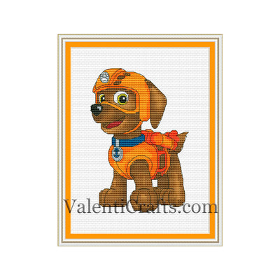 Zuma cross stitch pattern, Paw Patrol