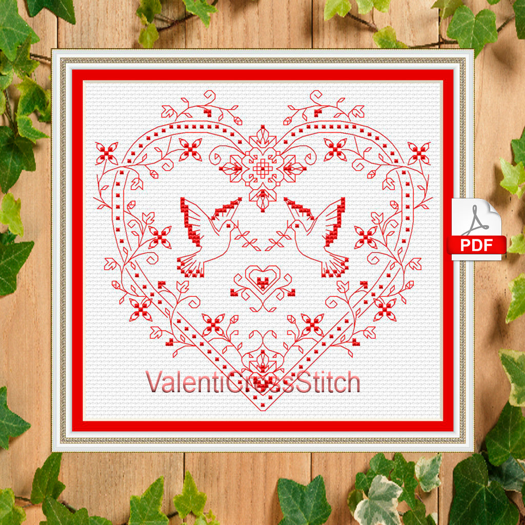 love doves cross stitch pattern