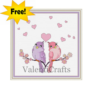 Love Birds Free Cross Stitch Pattern