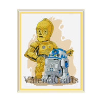 R2D2 and C3PO Star Wars Cross Stitch Pattern