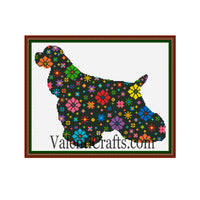 Dog Flower Cross Stitch Pattern