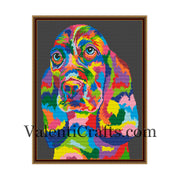 Rainbow Basset Hound Cross Stitch Pattern